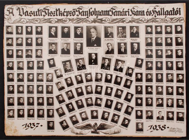 1938 A Vasúti Tisztképző Tanfolyam tanári kara és hallgatói, kistabló 125 nevesített portréval, Botfán Mária budapesti műterméből, kartonra ragasztva, 22x29 cm