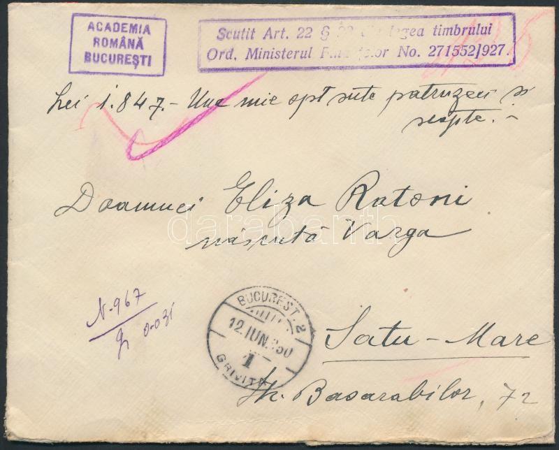 Cover without postage due from Academy of Sciences, Portómentes levél a Tudományos Akadémiától