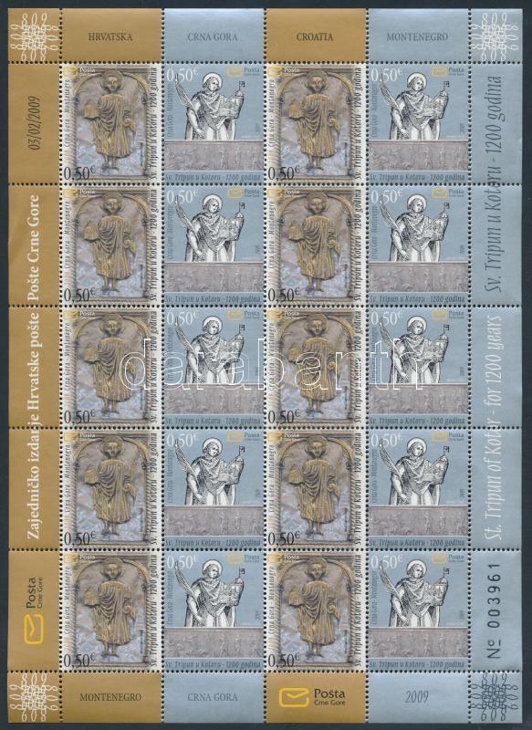 St. Tryphon monuments of Kotor minisheet (margin creases), Szt. Trifon emlékművei Kotorban kisív (ívszél enyhén megtört)