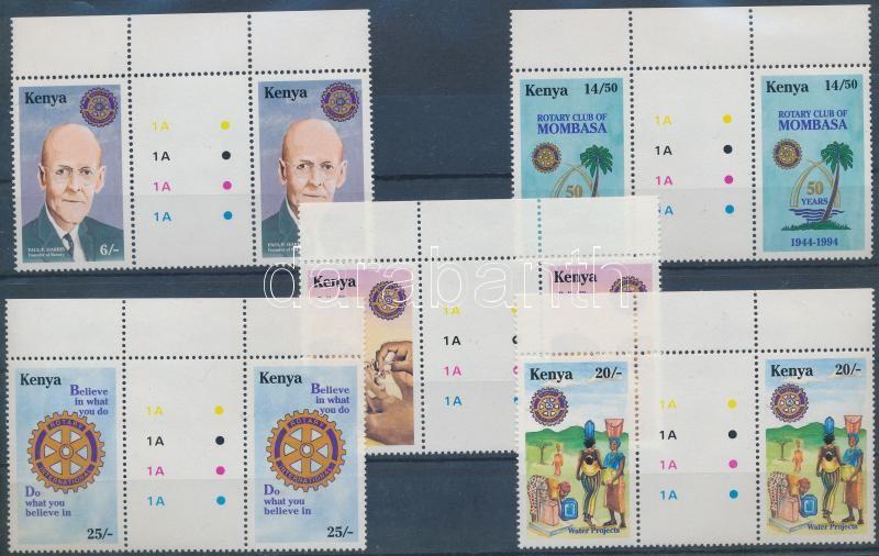 50th anniversary of Rotary Club margin set in sheetcentered pairs, 50 éves a Rotary Klub ívszéli sor ívközéprészes párokban