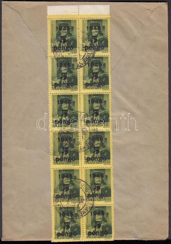 Inflation cover, (5.díjszabás) Távolsági levél tévesen a korábbi díjszabás szerint bérmentesítve 12 db 5P/8f Kisegítő (II) bélyeggel