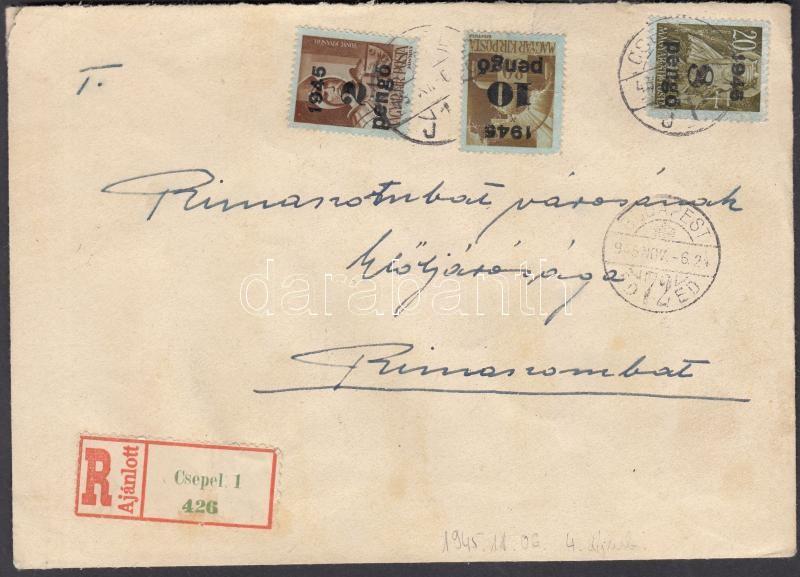 Inflation cover, (4.díjszabás) Ajánlott távolsági levél 24 db Kisegítő (II) bélyeggel bérmentesítve / Registered cover franked with 24 stamps