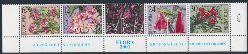 Flowers set in corner coupon stripe of 5, Virágok sor ívsarki szelvényes 5-ös csíkban