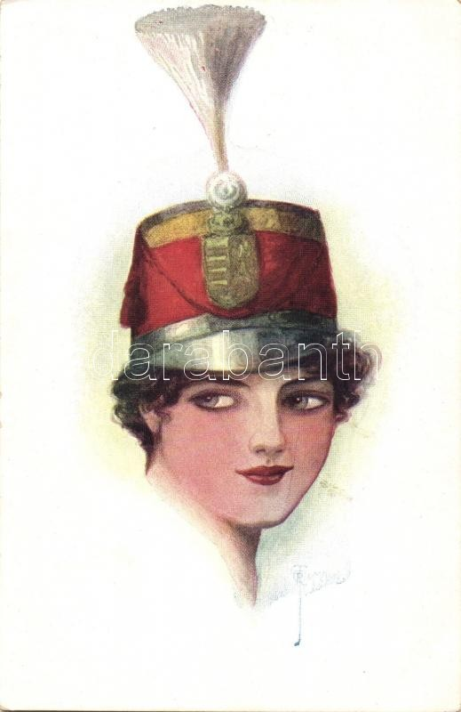 Hungarian hussar lady, F. H. & S. W. IX. Nr. H 232. s: O. J. Romann, Női huszár, F. H. & S. W. IX. Nr. H 232. s: O. J. Romann