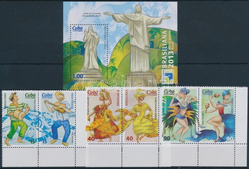 International Stamp Exhibition, BRASILIANA set in pairs + block, Nemzetközi bélyegkiállítás, BRASILIANA sor párokban + blokk