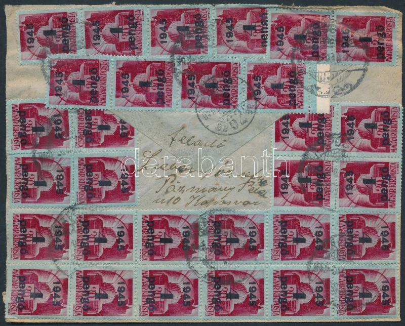Inflation cover, (5.díjszabás) Távolsági levél 30 db Kisegítő (II) 4P/30f bélyeggel bérmentesítve, cenzúrázva / Domestic cover franked with 30 stamps