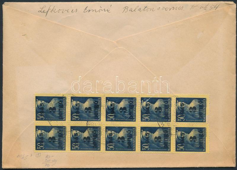 Inflation cover, (3.díjszabás) Ajánlott távolsági levél 10 db Kisegítő (II) 3P/50f bélyeggel bérmentesítve, ragjegyen kézírásos helységnév