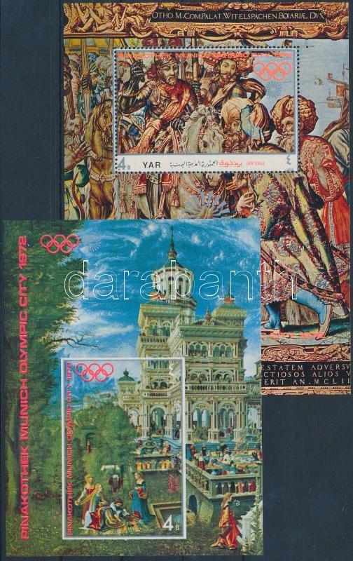Munich Olympics, Paintings (I-II) 2 diff blocks, München, az olimpia helyszíne, festmények (I-II) 2 klf blokk