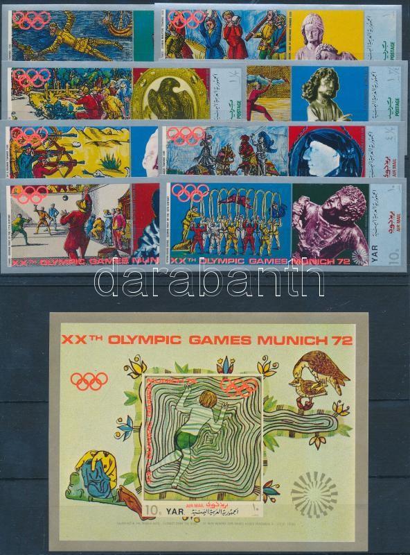 Munich Olympics, sculptures (II) set + block, München, az olimpia helyszíne, szobrok (II) sor + blokk (2 stecklapon)