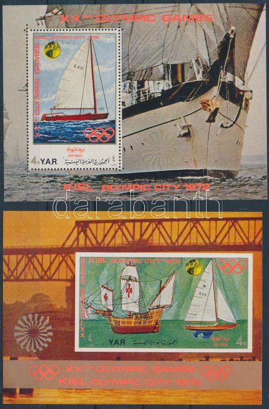 Olympics, sailing ship (I-II) 2 diff blocks, Olimpia, vitorláshajók (I-II) 2 klf blokk