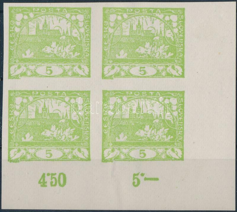 Hradzsin 5h new print in corner block of 4, Hradzsin 5h újnyomat ívsarki négyestömb