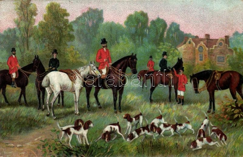 Hunters on horseback, hunting dogs, litho, Lovas vadászok kutyákkal, litho