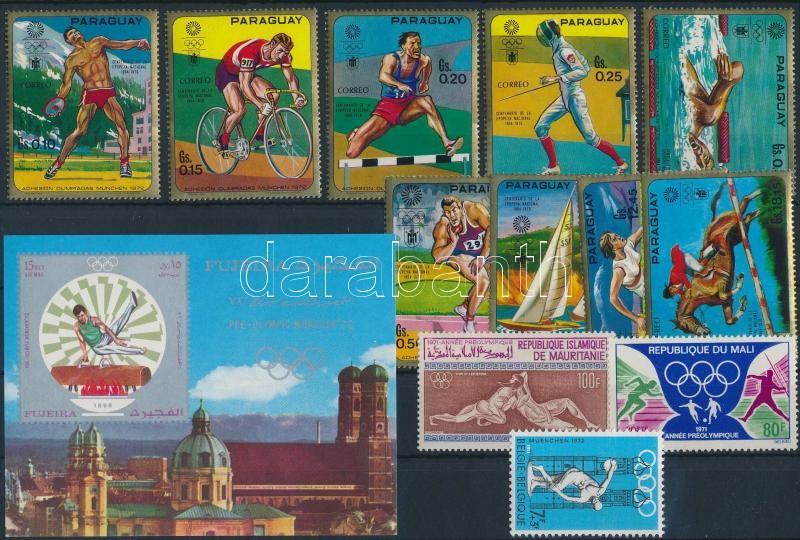 Summer Olympics 1970-1971 5 country + 3 values +1 set +1 block, Nyári olimpia 1970-1971 motívum tétel 5 klf ország 3 klf önálló érték + 1 sor + 1 blokk