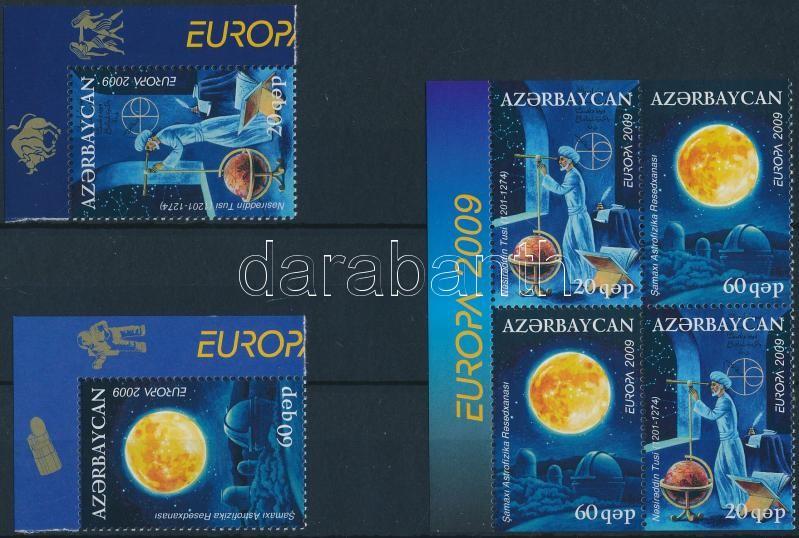 Europa CEPT: Astronomy corner set + stampbooklet sheet, Europa CEPT: Csillagászat ívsarki sor + bélyegfüzetlap