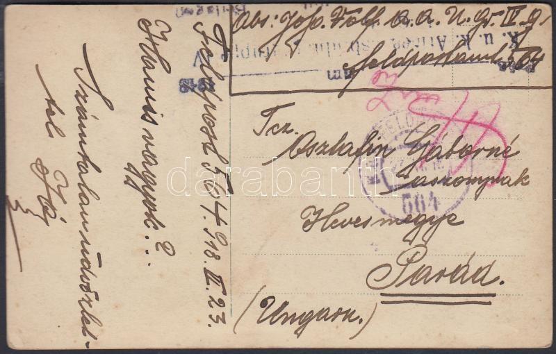 "Austria-Hungary field postcard, Tábori posta képeslap ""K.u.k. Armeeausbildungsgruppe"" + ""FP 564"""