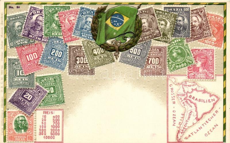 Brazilien, Brazil; set of stamps, flag, map, Ottmar Zieher's Carte Philatelique No. 84. Emb. litho (pinhole), Brazília, bélyegek, zászló, térkép; Ottmar Zieher's Carte Philatelique No. 84., dombornyomat, litho (tűnyom)