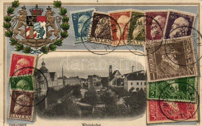 Bad Wörishofen, set of stamps, coat of arms, H.G.Z. & Co. No. 13970. Emb. litho (pinholes)