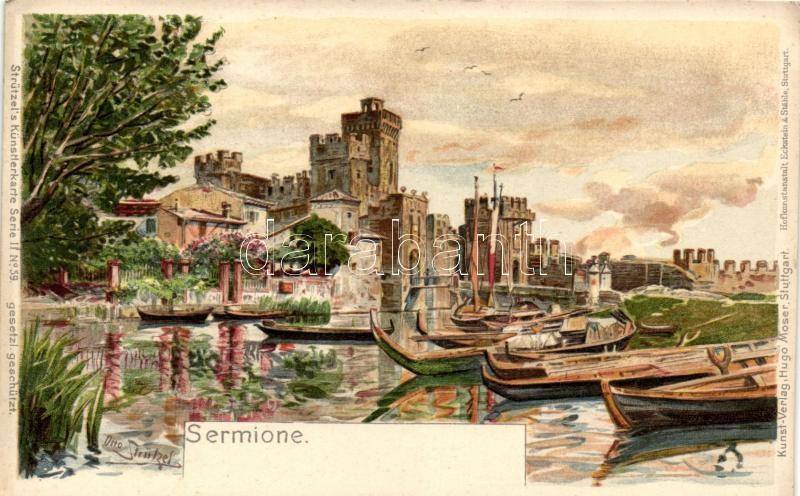 Olaszország; T4; Sirmione, Sermione; Castle, Hofkunstanstalt Eckstein & Stähle, Strützel's Künstlerkarte Serie II. No. 59. litho s: Otto Strützel (cut)