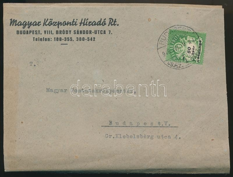 (27. díjszabás) Helyi levél 50ezer Adópengős bérmentesítéssel, korábbi díjszabás szerint / Mi 936 on local cover (boríték szétnyitva / opened for exposition purpose), Inflation cover