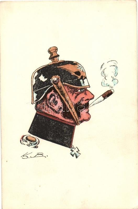 Smoking German military officer, ASCO (Arthur Schuerer & Co.) 8837. B.-Sch. s: K. B., Dohányzó német katonatiszt, ASCO (Arthur Schuerer & Co.) 8837. B.-Sch. s: K. B.