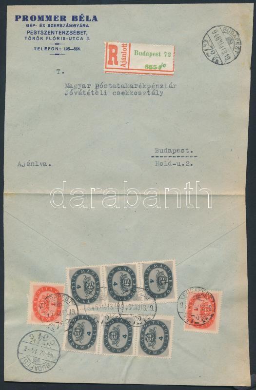 Inflation cover, (15.díjszabás) Ajánlott helyi levél Milliós 2x1mP + 6x4mP bérmentesítéssel / Registered local cover franked with 8 stamps (boríték szétnyitva / opened for exposition purpose)