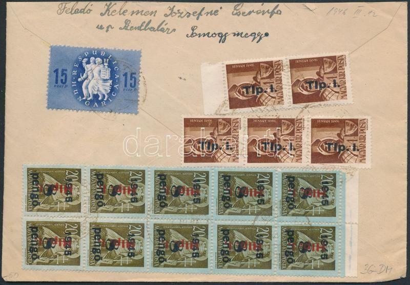 Inflation cover, (8.díjszabás) Távolsági levél 16 db bélyeggel bérmentesítve