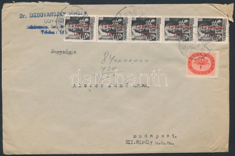 Inflation cover, (15.díjszabás) Távolsági levél 31 db bélyeggel bérmentesítve / Domestic cover franked with 31 stamps