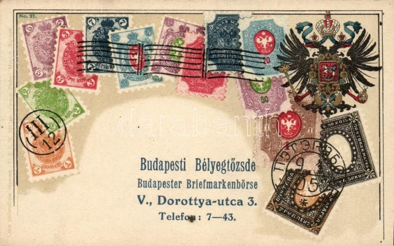 Oroszország, bélyegek, címer; Ottmar Zieher's Carte Philatelique No. 27.  (tűnyomok), Russia, Rossiya; set of stamps, coat of arms, Ottmar Zieher's Carte Philatelique No. 27.  (pinholes)