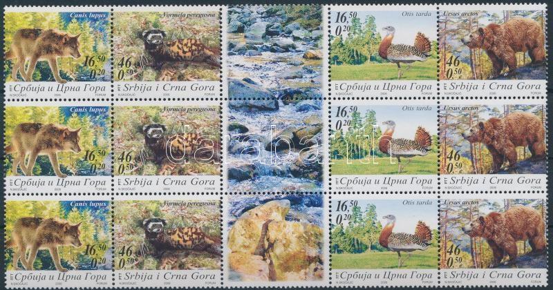 Animals sheet-centered block of 15, Állatok ívközéprészes 15-ös tömb