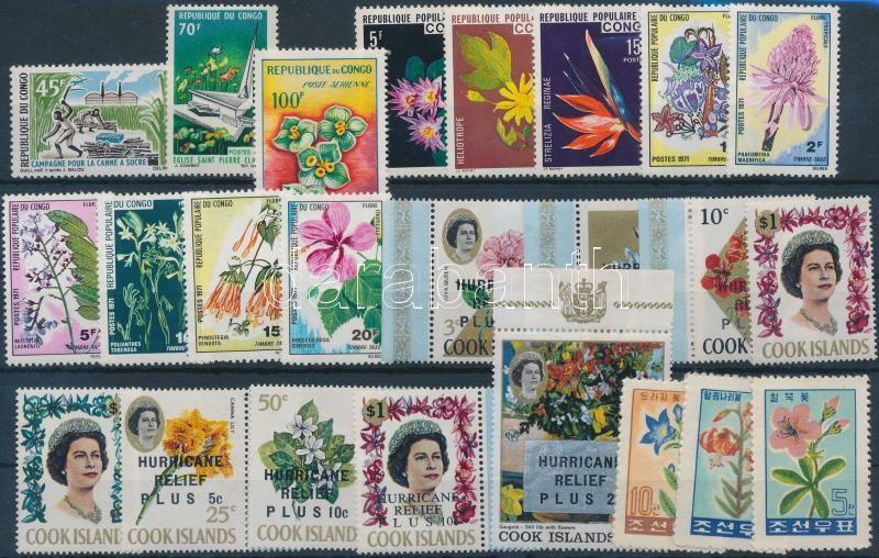 1963-1976 Flowers 4 diff sets + 6 diff stamps, Virág motívum 1963-1976 4 klf sor + 6 klf önálló érték