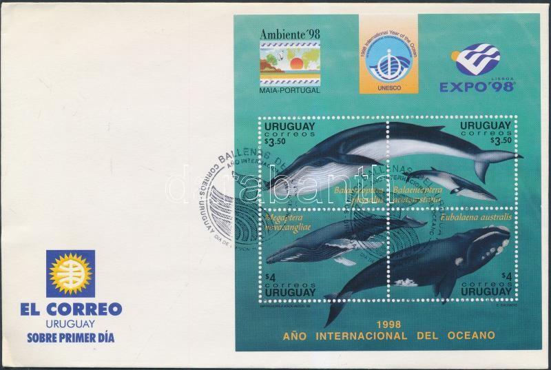International Stamp Exhibition, Whales block on FDC, Nemzetközi bélyegkiállítás, Bálnák blokk FDC-n