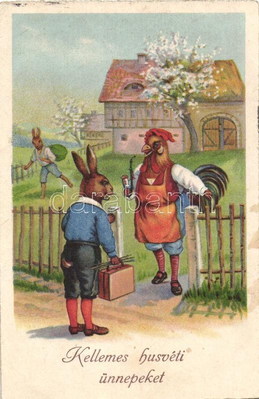 Easter, rabbit and rooster gentleman, Erika Nr. 2005. litho, Nyúl és kakas, Erika Nr. 2005. litho