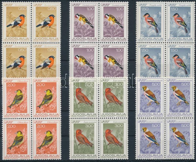Birds set in blocks of 4, Madarak sor 4-es tömbökben