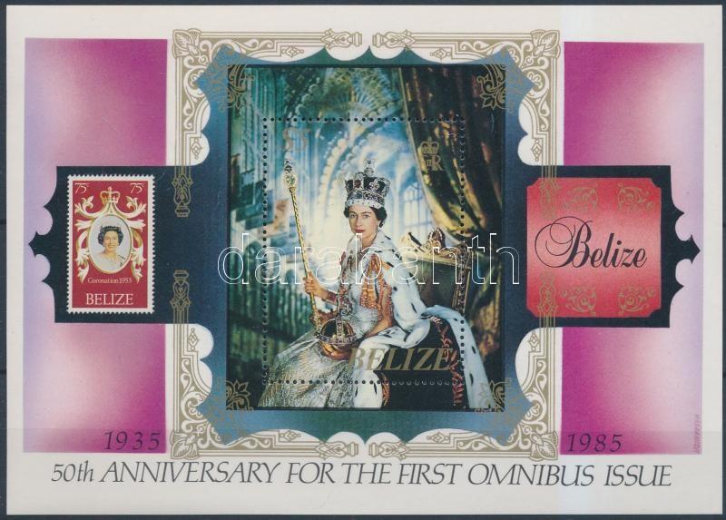50th anniversary of omnibus issue; Elizabeth II block, 50 éves az omnibus kiadás; II. Erzsébet blokk