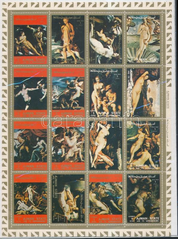 Nude paintings minisheet (foded), Aktfestmények kisív (hajtott)