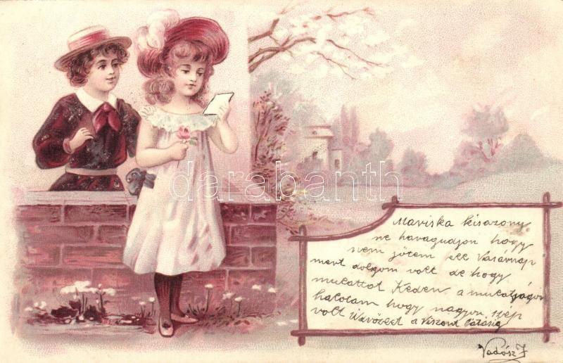 Child couple, romantic greeting postcard, litho, Gyermek pár, romantikus üdvözlőlap, litho