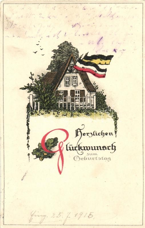 Birthday greeting card, German flags, M.S.i.B. 147. Emb. litho, Születésnapi üdvözlőlap, német zászlók, M.S.i.B. 147. dombornyomat, litho