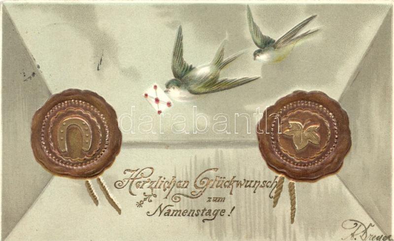 Name Day, envelope, seal, swallolws, Emb. litho, Nénapi üdvözlőlap, levél, pecsét, fecskék, dombornyomat, litho