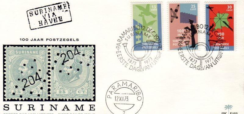 Centenary of Suriname stamp set FDC, 100 éves a szurinami bélyeg sor FDC