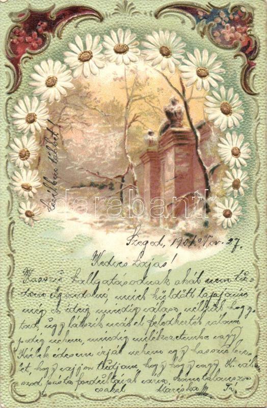 Art Nouveau floral greeting card, Emb. litho, Virágos Art Nouveau üdvözlőlap, dombornyomott,  litho