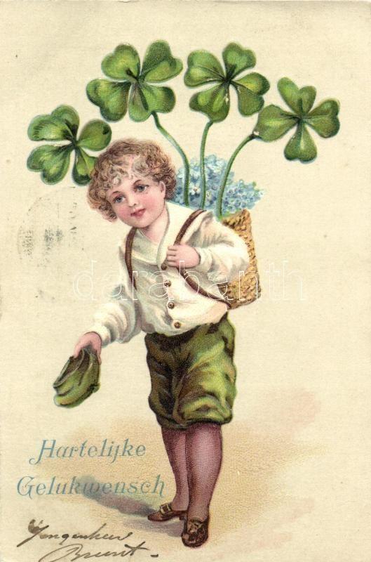 Greeting card, child with clovers, Emb. litho, Üdvözlőlap, fiú lóherével, dombornyomott, litho