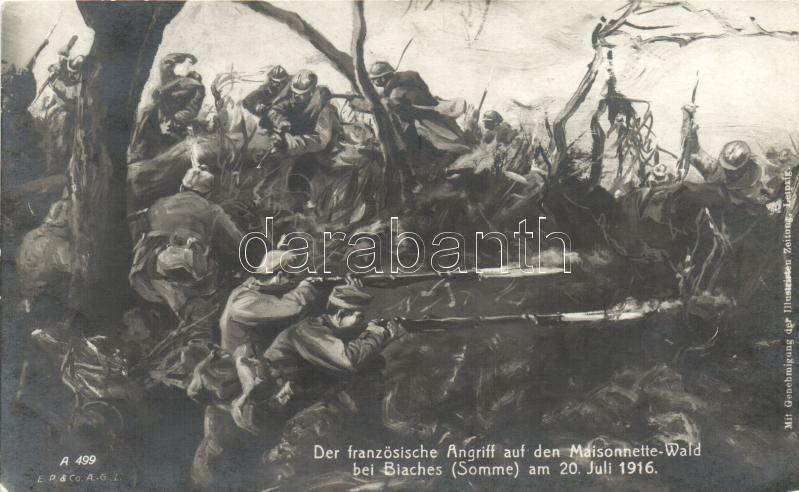 1916 Francia támadás a németek ellen Biaches-nél, 1916 Der französiche Angriff auf den Maisonnette Wald bei Biaches / WWI French-German battle