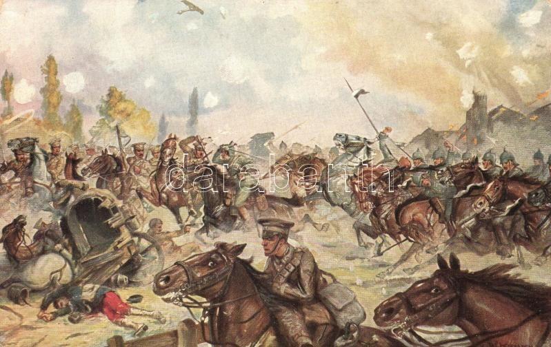 Kürassiere verfolgen engl. Reiterei / WWI British-German battle, Moriz & Barschall Nr. 4680. s: E. W. Kiesslich, I. világháború, német és angol lovasság összecsapása, Moriz & Barschall Nr. 4680. s: E. W. Kiesslich