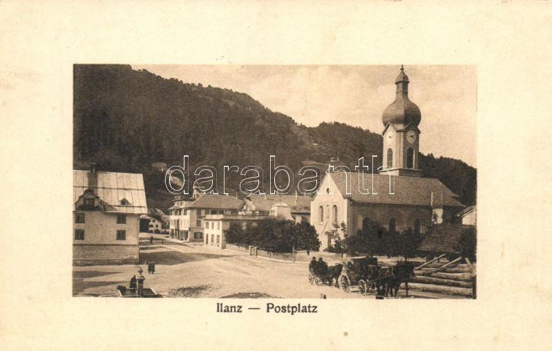 Ilanz, Postplatz / square, church