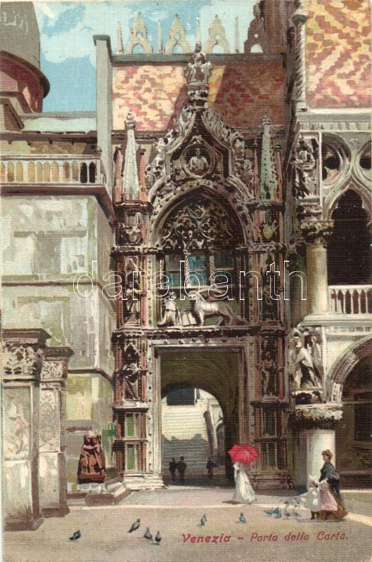 Venice, Venezia; Porta della Carta / gate, litho