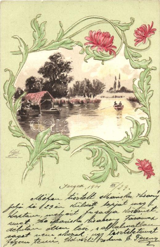 Art Nouveau greeting card, Emb. litho, Art Nouveau üdvözlőlap, dombornyomat litho
