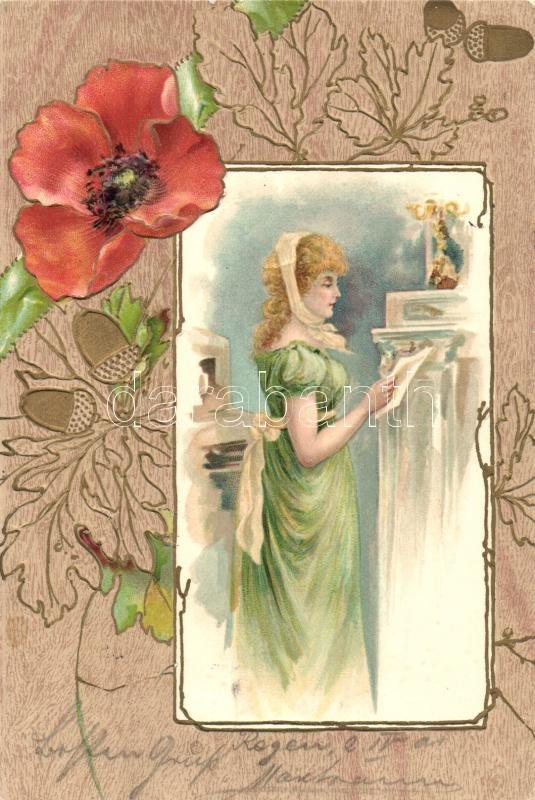 Lady, Art Nouveau, floral greeting card, Emb. litho, Hölgy, Art Nouveau, virágos üdvözlőlap, dombornyomat, litho