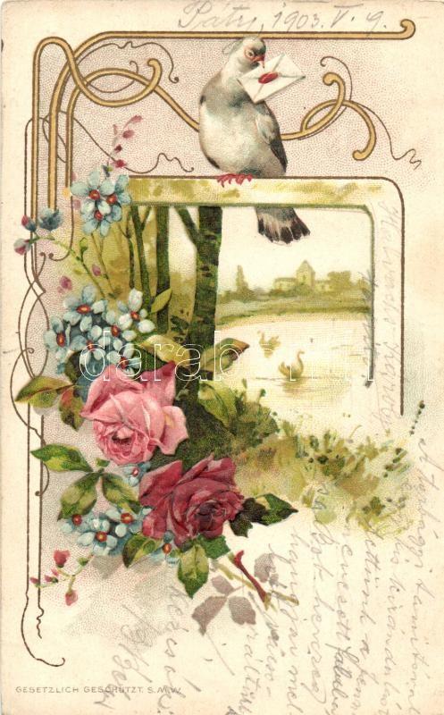 Floral Emb. litho greeting card, Üdvözlőlap, galamb, virág dombornyomat, litho