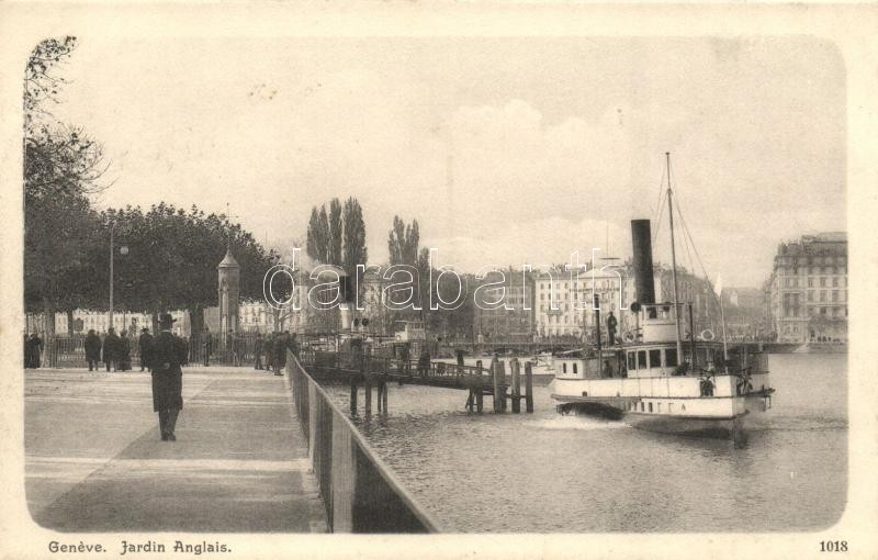 Geneva, Geneve; Jardin Anglais / park, port, steamship