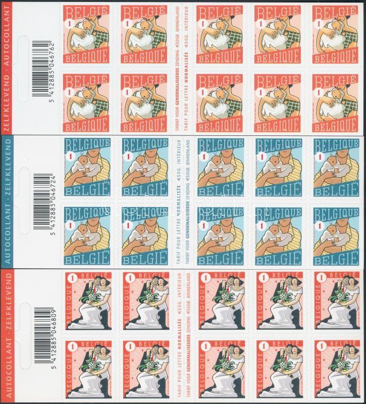 Greeting Stamps 3 self-adhesive stamp-booklets Üdvözlő bélyegek 3 klf öntapadós bélyegfüzet